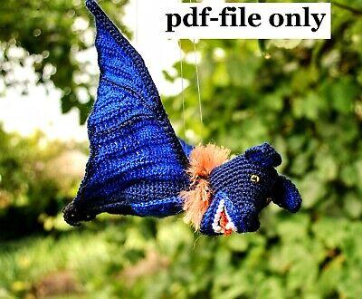 Halloween Bat Crochet Patterns (Crochet Pattern Bat Halloween Dragon Amigurumi)