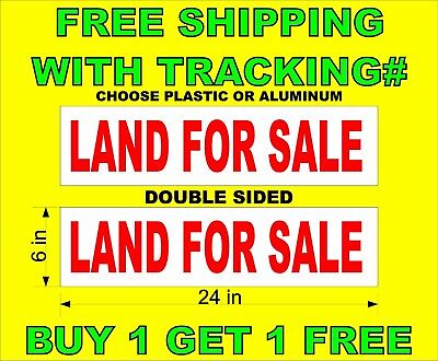 Land For Sale Red White 6x24 2 Sided Real Estate Rider Signs Bogo