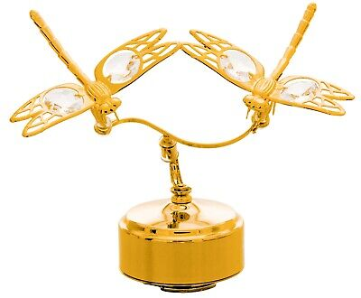 - SWAROVSKI CRYSTAL STUDDED DOUBLE DRAGONFLY MECHANICAL MUSIC BOX 24K GOLD PLATED
