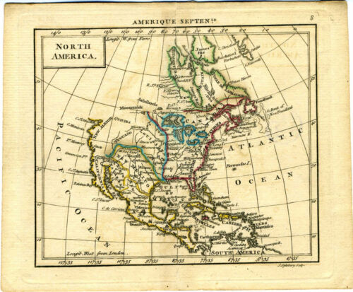 1761 Genuine Antique miniature map North America. Quivira. Hand color.  A. Dury