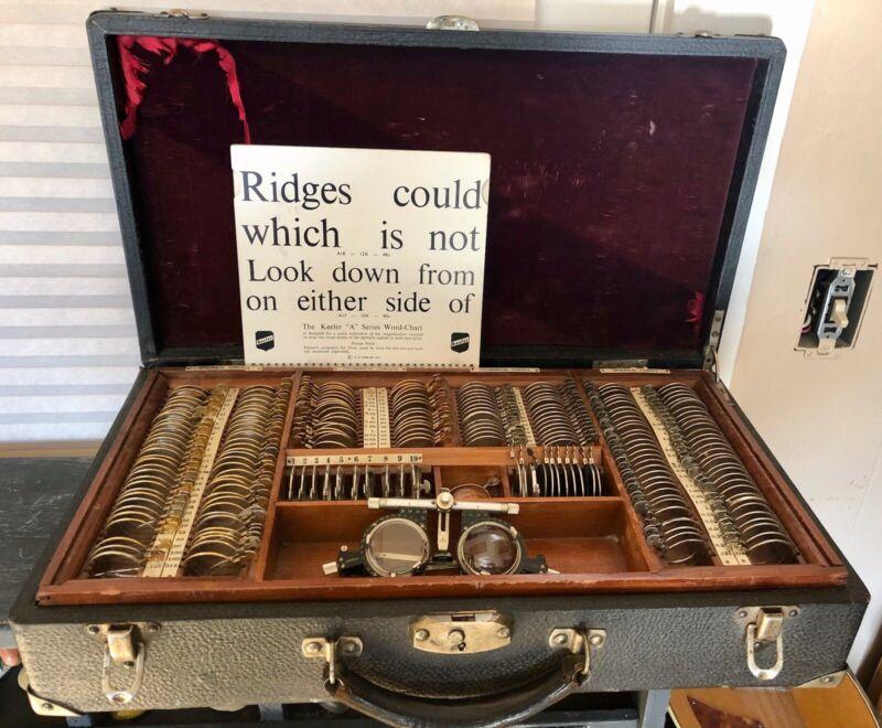 Antique Optometrist Eyeglass Fitting Kit, Lenses, Charts, Etc