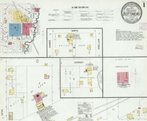 Bottineau, North Dakota~ Sanborn Map© sheets~10 maps in color~1908 to 1926 on CD