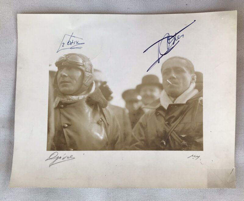 Antique Signed Photo Of Historic Aviators Joseph Le Brix & Dieudonne Costes