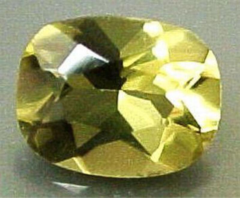 7×9 mm CUSHION CUT NATURAL OLIVE GREEN QUARTZ #R529