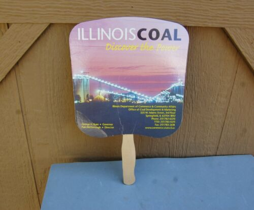 Illinois Coal Advertising Hand Fan Vintage 1999 George H Ryan Governor Mining