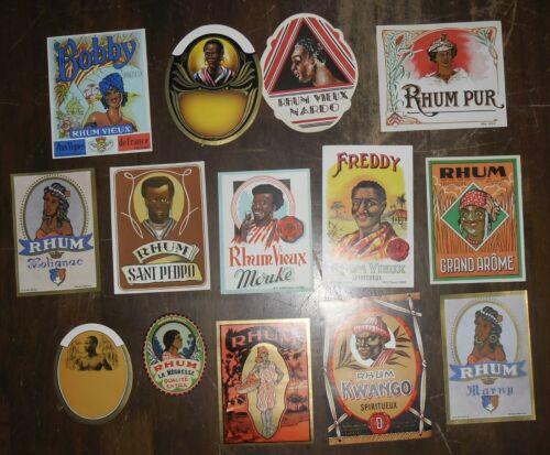 Lot of 14 Different Black Rum Labels *Original Old Stock*