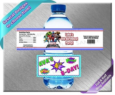 Super Hero Heroes Heros Squad ~ Water Bottle Labels ~ Birthday Party Baby Shower ()