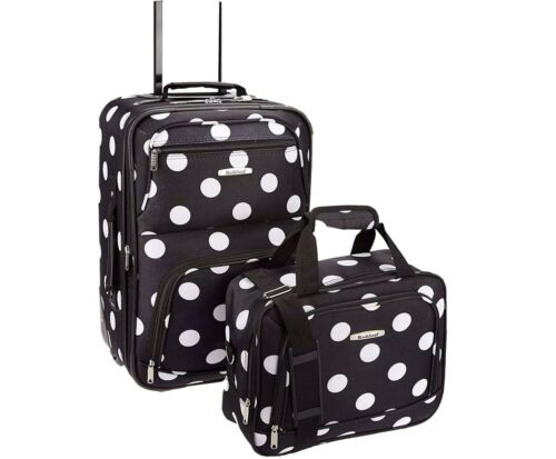 Rockland Fashion Softside Upright Luggage Set, Black Dot, 2-Piece 14/19  - $45.00