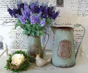 Krug Kanne Vase Zink metall Shabby - antik  Vintage  Garten Frühling NEU 21 cm