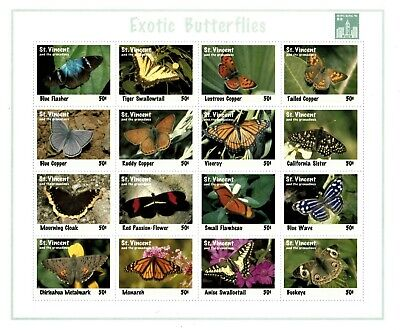 St. Vincent 1994 SC# 2022 Exotic Butterflies, Insects - Sheet of 16 Stamps - MNH