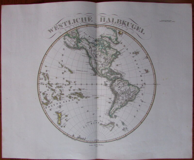 Western Hemisphere Americas NZ & Poles - 1852 Hand Color Old Stieler World Map