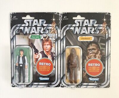 Star Wars The Retro Collection Han Solo And Chewbacca Action Figure Bundle New