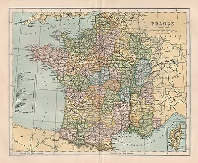 1900 Ca ANTIQUE MAP FRANCE IN DEPARTMENTS
