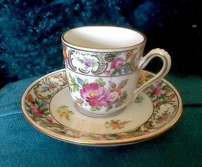 CARL THIEME DRESDEN Porcelain Demitasse Cup & Saucer*Reticulated*Floral*Germany