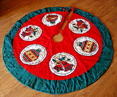 """large 58"""" quilted Christmas Tree Skirt green red cotton gold embroidered quilted"""