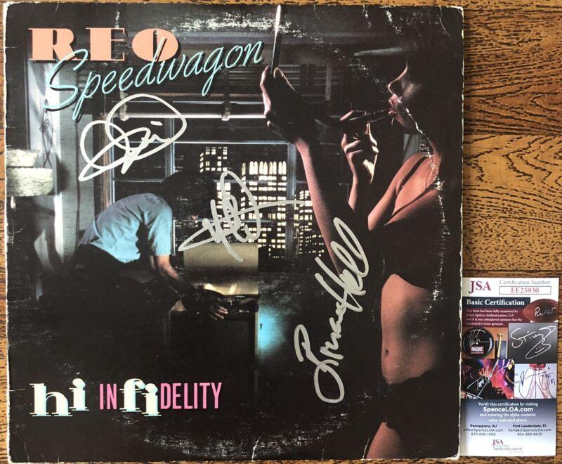 REO Speedwagon Signed Autographed Hi Infidelity Vinyl Record Kevin Cronin +2 JSA
