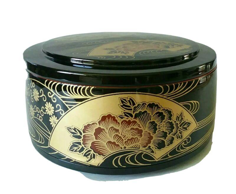 "Japanese Lacquer Ware Box Round Black Gold 6.25"" Plastic"