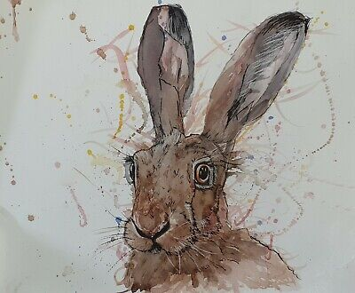 Original watercolour & pastel painting of a Hare