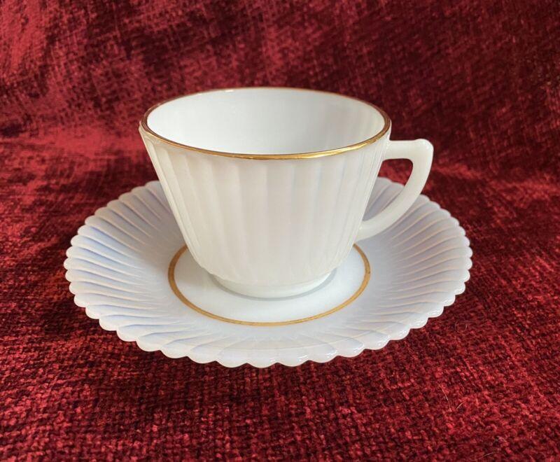 Vintage MacBeth Evans Petalware Monax Gold Trim Cup and Saucer