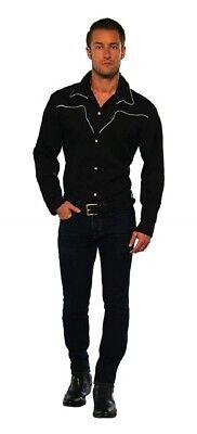 Men's Black Rodeo Cowboy Shirt Adult Costume Western Sheriff Wild West - Western Sheriff Costume Men