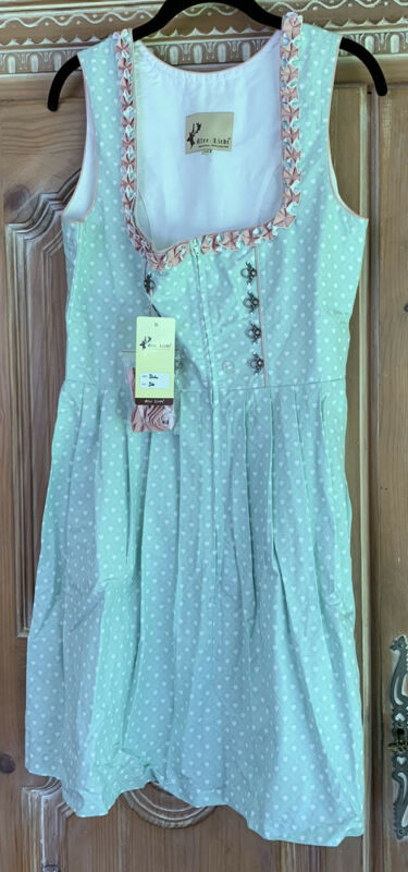 ALTE LIEBE Authentic Oktoberfest Dress in Mint, White & Pink Size 36/ US 6 NWT