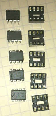 5 X Lm358 Lm358p Dual Op-amp Dip-8 Ic With Sockets - Usa Seller