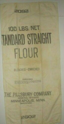 Vtg Pillsbury Company 100 LBS. Standard Strait Flour Cloth Bag #2602 Imperfect