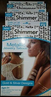 Shimmer Metallic Temporary Tattoos - 3 Packs, Gold & Silver Designs  (Shimmer Tattoos)