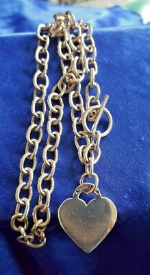 (Sterling Silver Rolo Link Toggle Closure Heart Charm Chain Necklace 16 1/2