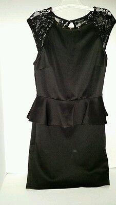 Women's dress brand Better B , sz xs , black lace top gold tone spikes on