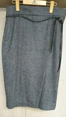 Brunello Cucinelli Gray Herringbone Belted Skit Size US 8