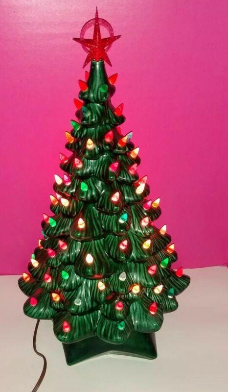 "Vintage Retro 20.5"" Holland Mold Lighted Ceramic Christmas Tree & Base No Chips"