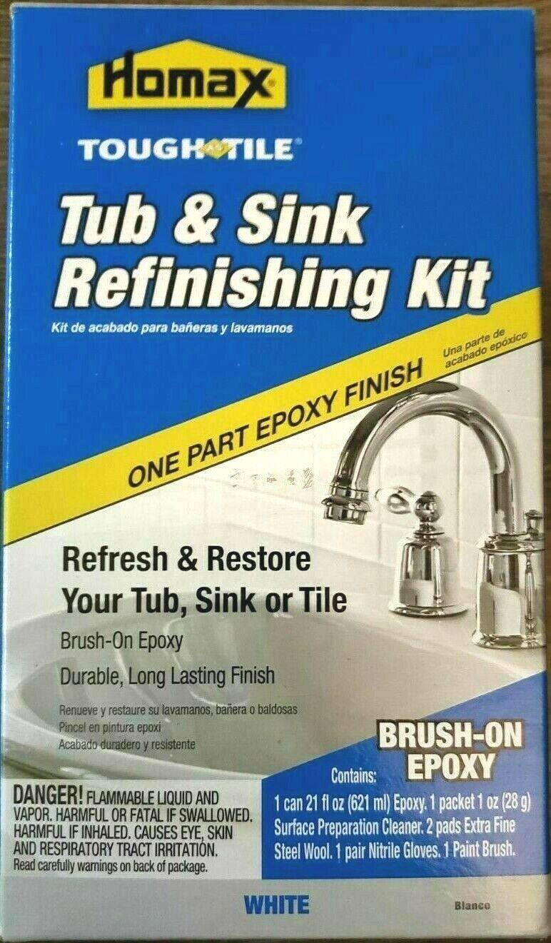 Homax Tub Sink Tile Refinishing Restoration Kit Brush On Epoxy White 21 fl oz Building & Hardware