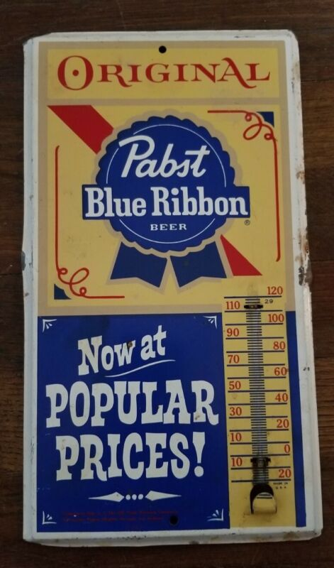 VINTAGE PABST BLUE RIBBON BEER THERMOMETER ADVERTISING SIGN METAL PBR