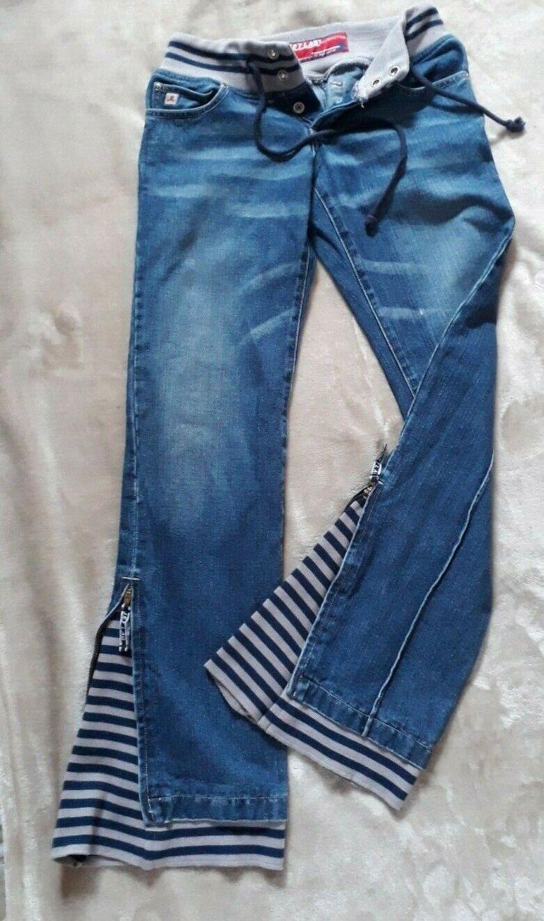 Damen Schlag Jeans Bootcut Hippie Hose JETLAG Boho Größe 29/32 blau stonewashed