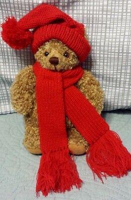 "Hallmark MARY Teddy BEAR brown w/Red Sweater Hat & Scarf stuffed animal plush 9"""