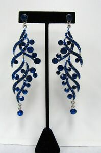 Royal Blue Rhinestone Crystal Dangle Chandelier Earrings # 803 Wedding Prom