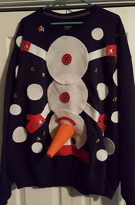 AWARD WINNING Ugly Tacky Christmas Sweater - Dirty Snowman - Men's 2XL!!!](Ugly Sweater Awards)