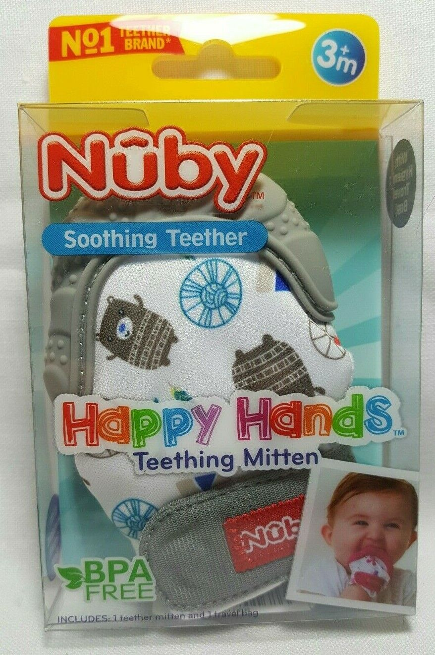 Nuby Soothing Teether Happy Hands Teething Mitten with Hygie