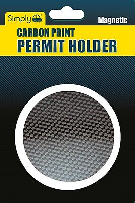 Carbon black Magnetic Car Tax Disc Holder for all cars windscreen Parking Permit