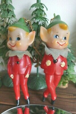 Vintage Elf Dolls Christmas Tree  Decoration Ornament  1960's  Soft Plastic