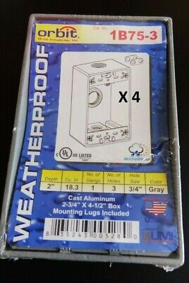 Orbit 1b75-3 Electrical Outdoor Box 1 Gang Weatherproof 2 Deep 3 Holes 4 Pack