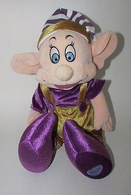 "Disney Store plush Snow White Dopey 7 dwarfs Christmas elf purple gold bell 11"""
