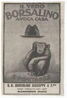 Pubblicità 1923 Borsalino Cappelli Uomo Man Hat Advert Werbung Publicitè Reklame -  - ebay.it
