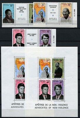 147/SPACE RAUMFAHRT 1969 KAMERUN CAMEROUN Gandhi JFK 592-597 + Bl. 7-8 KW €1010