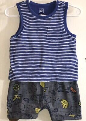 Baby Gap Baby Boy 6-12M One Piece Outfit Sleeveless Blue/White Top Fruit Shorts ()