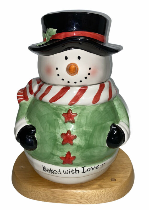 """Cookie Jar Snowman """"Baked with Love"""" Ceramic"""