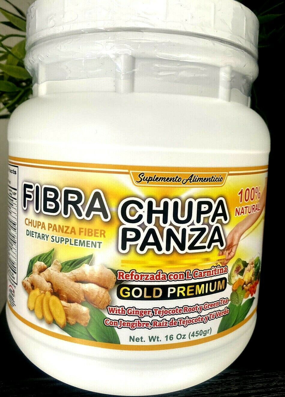 Fibra Chupa Panza100% Natural PREMIUM L CARNITINA 16oz TEJOCOTE ROOT & GREEN TEA 1