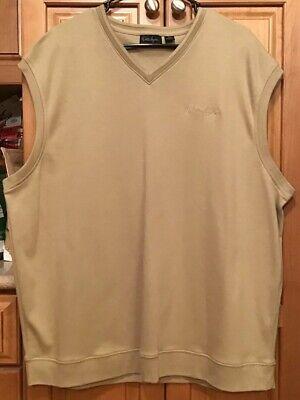Walter Hagen Golf Mens Sweater Vest NWOT Fleece XL Cotton Beige V-neck Pullover