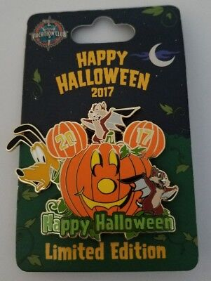 Disney Pin Happy Halloween 2017 DVC Disney Vacation Club Chip and Dale, Pluto